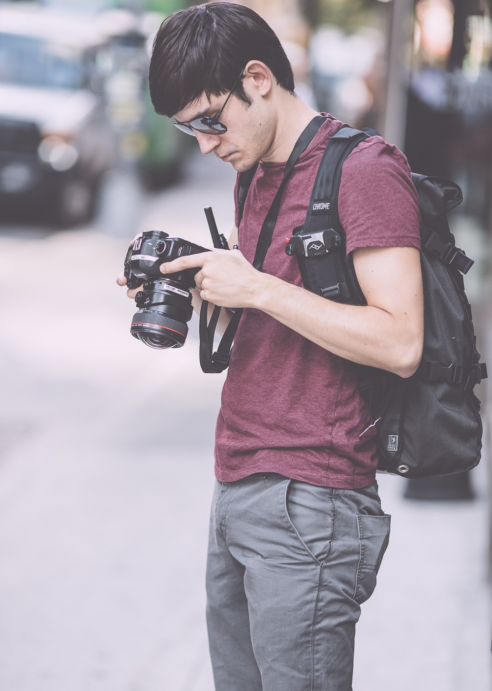 Assistant Brian Checking His Peak Design Leash Secured Canon 5DMKII and Rocking the Capture PRO Clip. Makes Moving Around NYC Streets Much More Safe With an Expensive DSLR