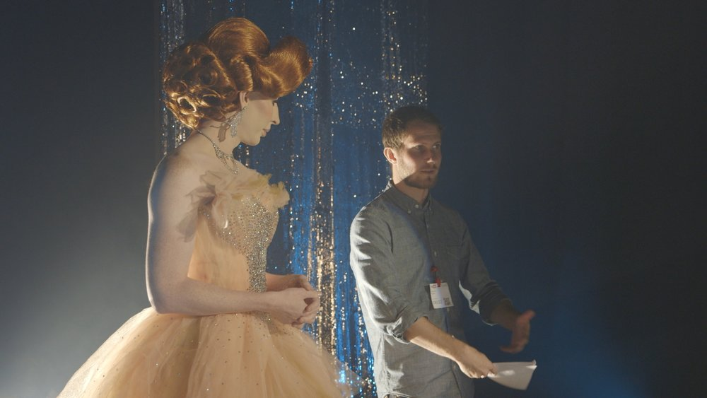 "Daniel directing ""Drag Queen Fashion"" for Vanity Fair."