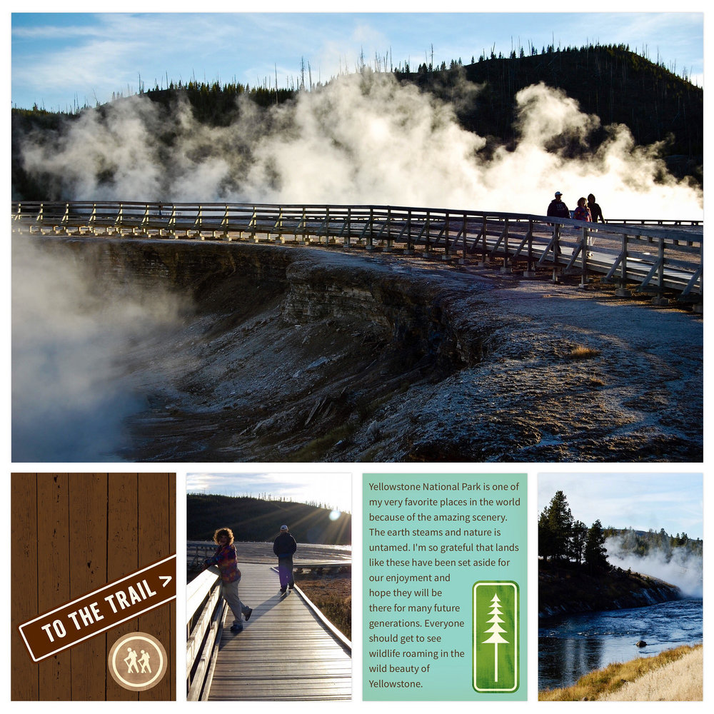 Yellowstone National Park in 2010. Created in Becky Higgins Project Life app using Great Outdoors cards available in the app. I often use Siri to dictate my journaling when I'm working in the Project Life app because it's so easy.