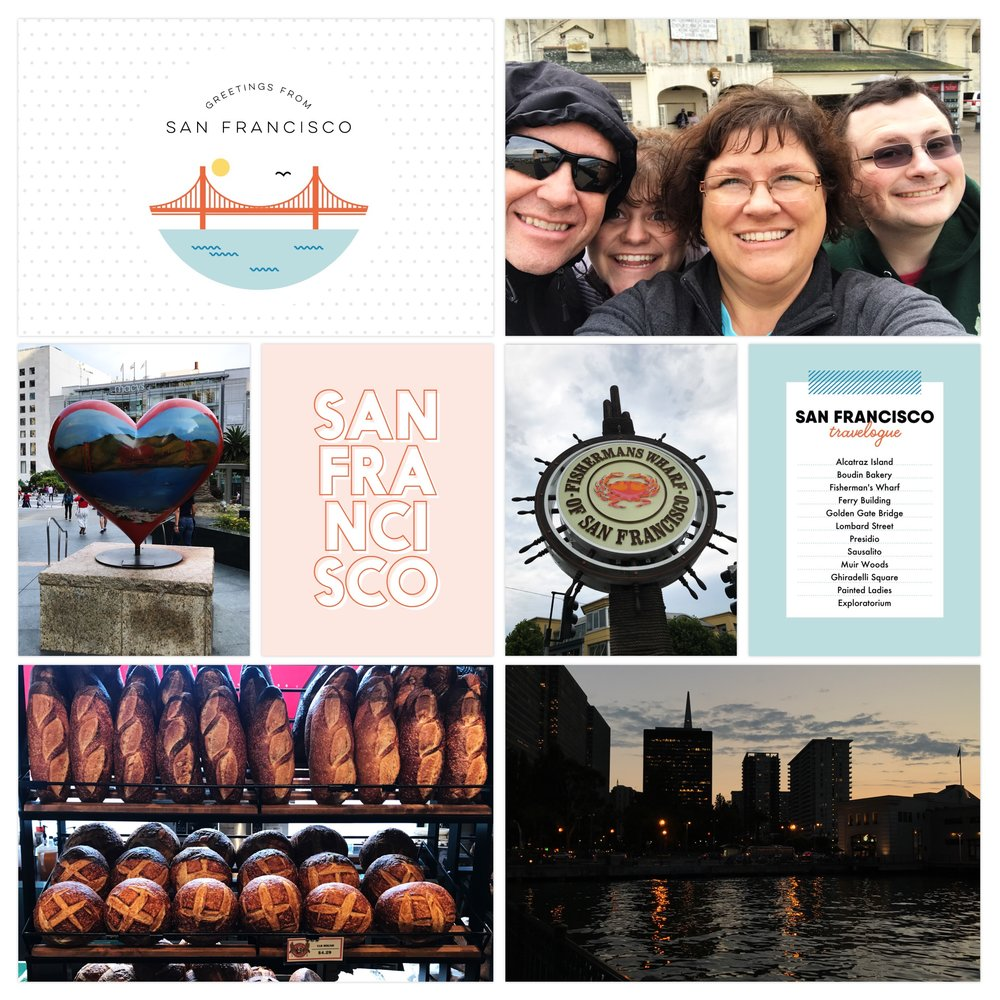 2017 family trip to San Francisco. Page created in Project Life App. Cards from  In A Creative Bubble.  Journaling done in Letterglow app.