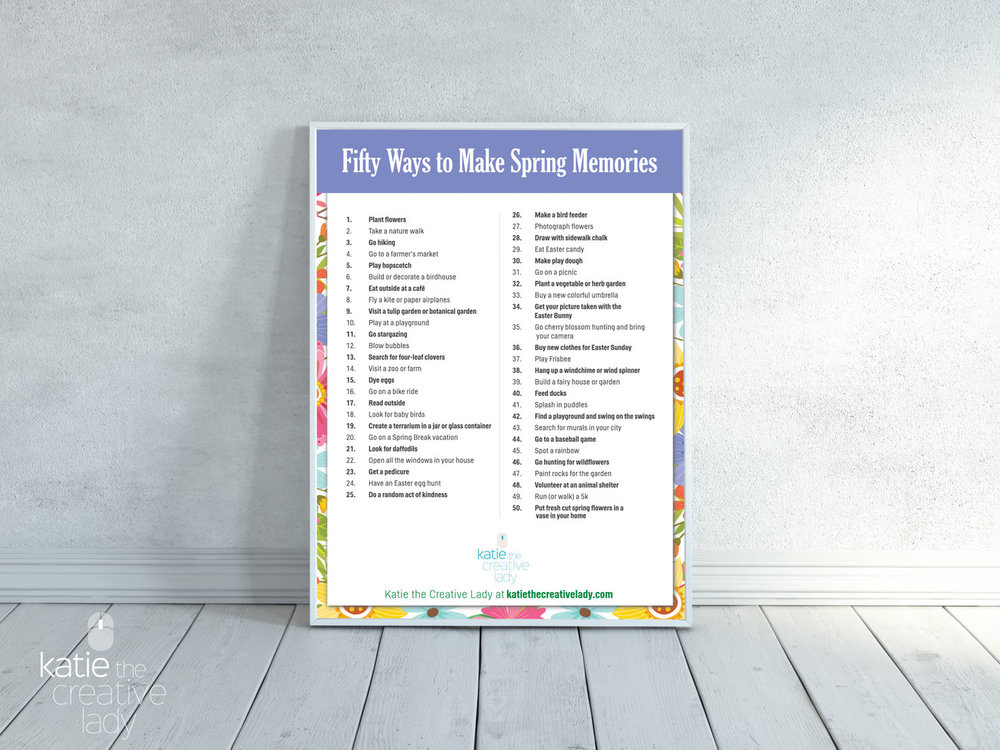 FREE PRINTABLE - 50 Fun Ways to Make Spring Memories