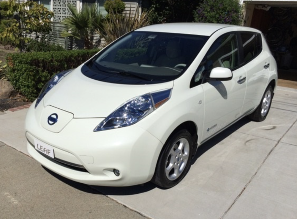2011 Nissan LEAF electric car after battery pack replacement (by owner, Tim Jacobsen, Concord, CA.)