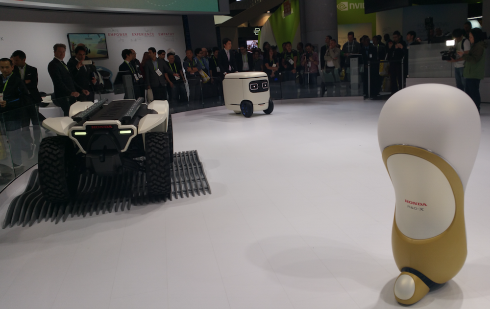 Honda emphasized its empathetic and friendly robotics technologies.