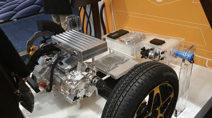 Continental exhibited its integrated electric-motor drive train capable of supporting 800-volt traction battery systems.