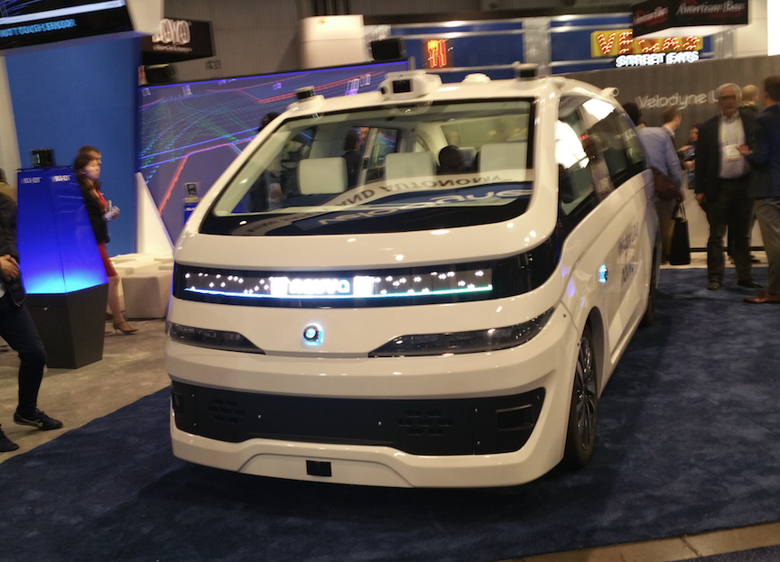 Velodyne exhibit showcased LIDAR sensors mounted on NAVYA Robotaxi