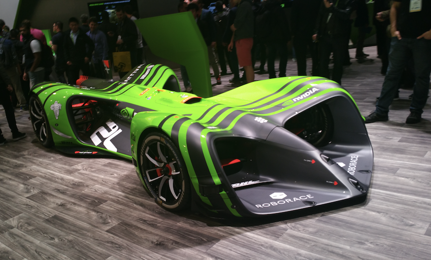 NVIDIA unveiled sponsored RoboRace autonomous Formula E-sanctiond race car during CES 2018.