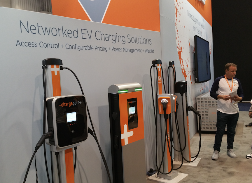 ChargePoint Exhibit Booth at CES 2018 displayed SAE J1772 AC Level 2 EVSE product lines for commercial and personal use.