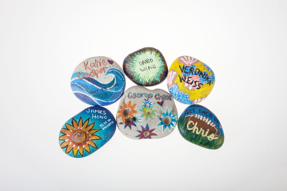 Painted Rocks left at memorial sites in Isla Vista. Photographed by Claire Bredenoord.