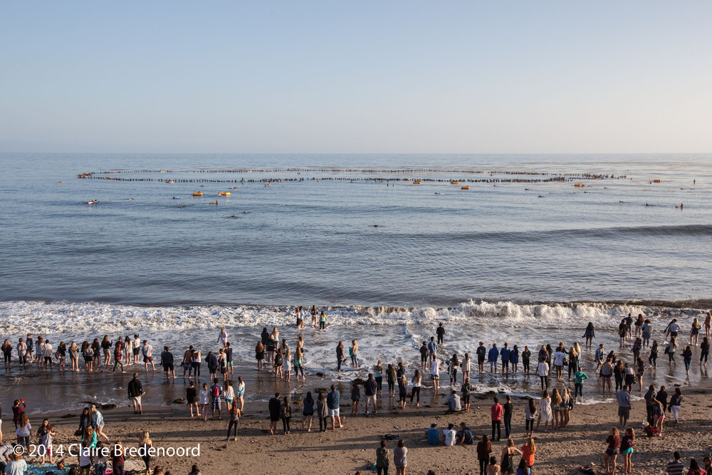 Memorial Paddle Out, Isla Vista. Photograph by Claire Bredenoord.