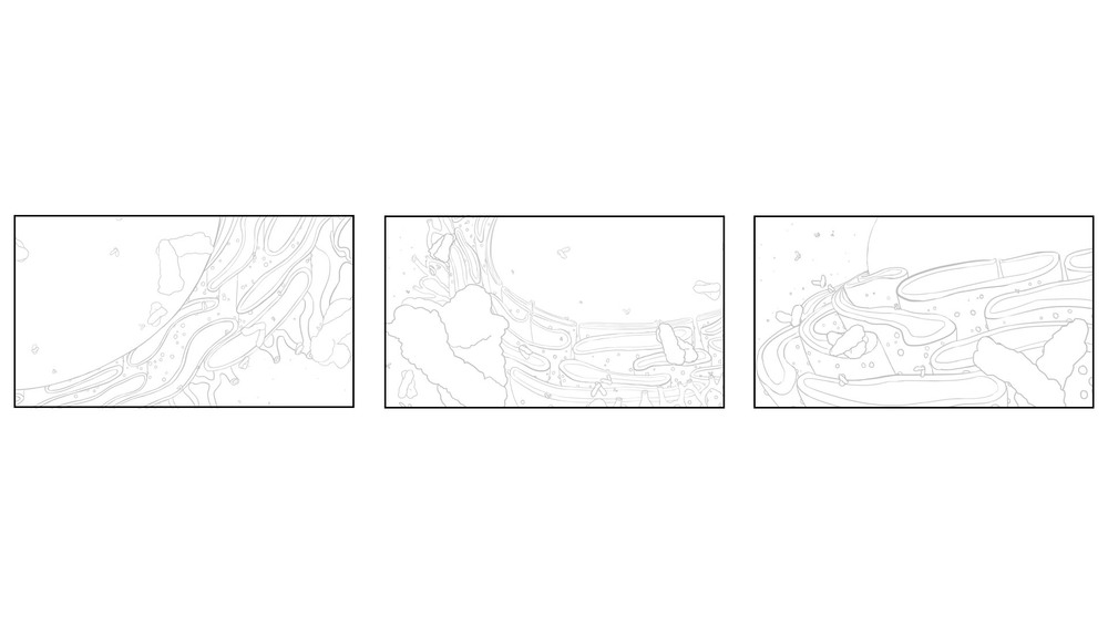 layout thumbnails drafted during brainstorming stages of this project
