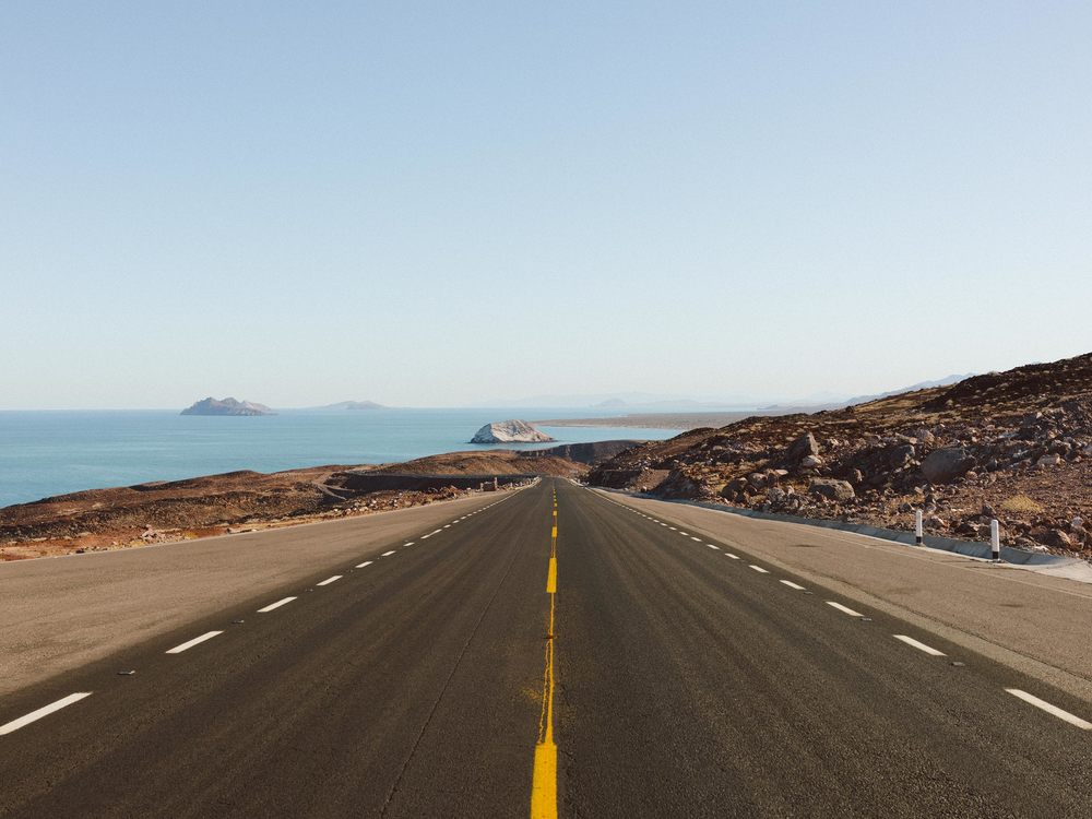 After 10 hours on the road this beautiful stretch of highway hugs the The Sea of Cortez coastline with gorgeous views of 'Islas de Encantadas'.