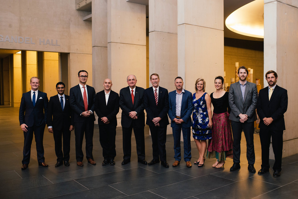 (L to R): Ben Duggan, Arjuna Mohottala, Henry Makeham, Robert Foster, Professor Michael McRobbie, Vice-Chancellor Professor Ian Young, Phillip Williamson, Michelle Melbourne, Jessica Avalon, Robert Wiblin, and Bradley Carron-Arthur. Photo by Adam Da Cruz.