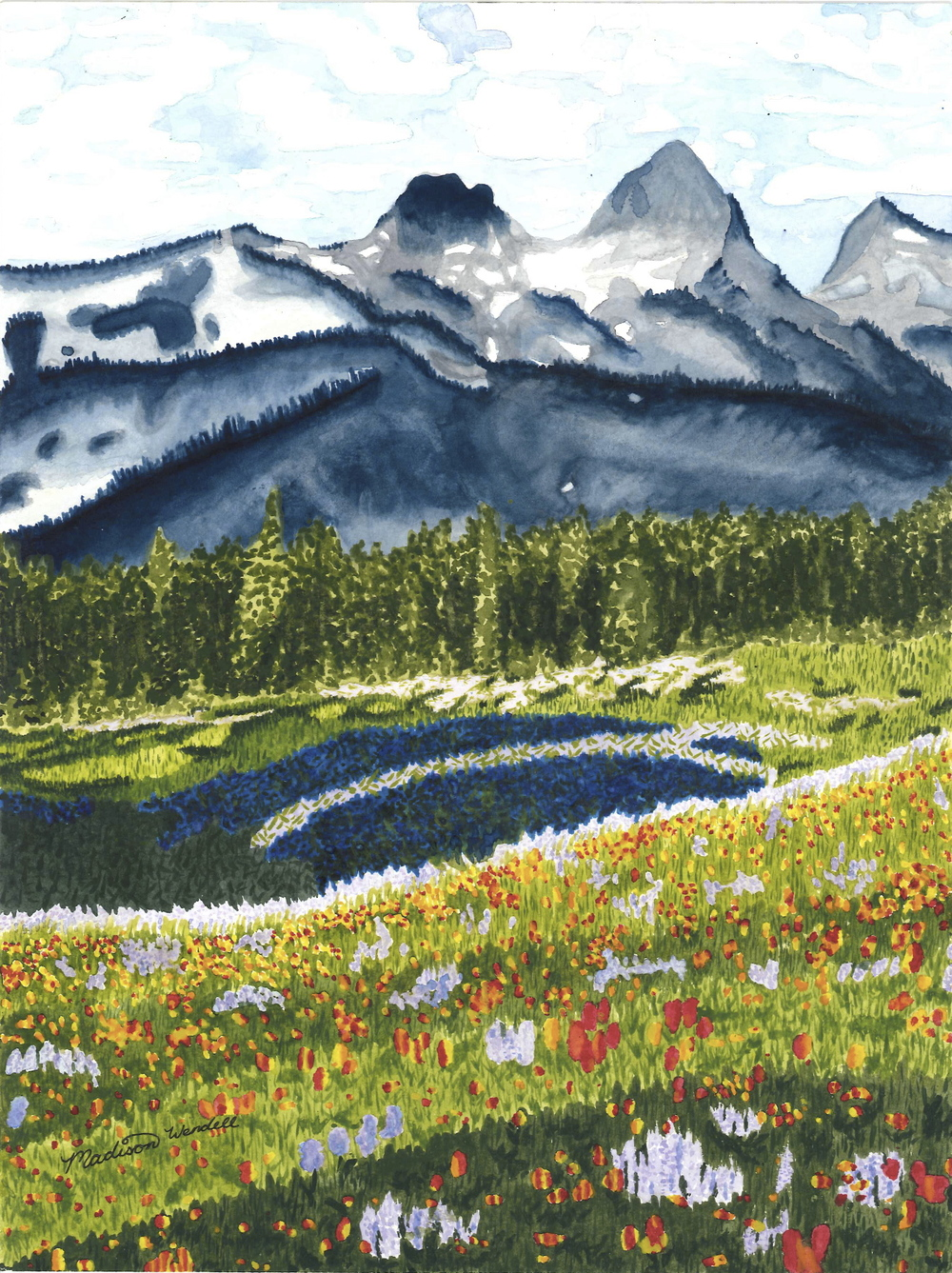 Madison Wendell.16yrs.Mountain.watercolor.2013