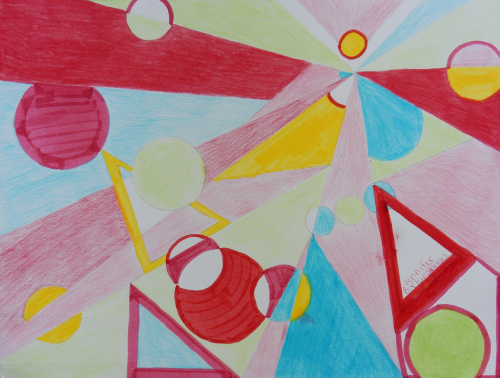 Jennifer Burkinshaw. Circles & Triangles.14yrs  Artwork posted with permission.