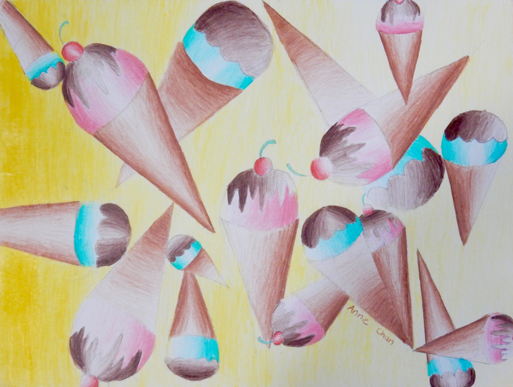 Annie Chan.10yrs.IceCreamCones.coloredpencils