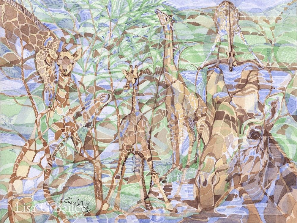 Giraffes (colorweave watercolor)