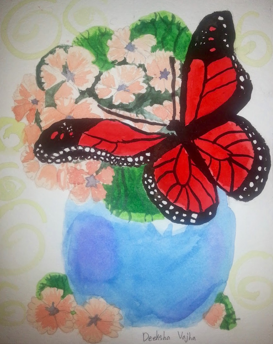 DeekshaVajha.8yrs.watercolors.Butterfly