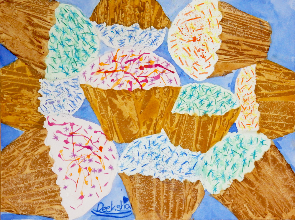 Deeksha Vajha.8yrs.watercolor.cupcakes