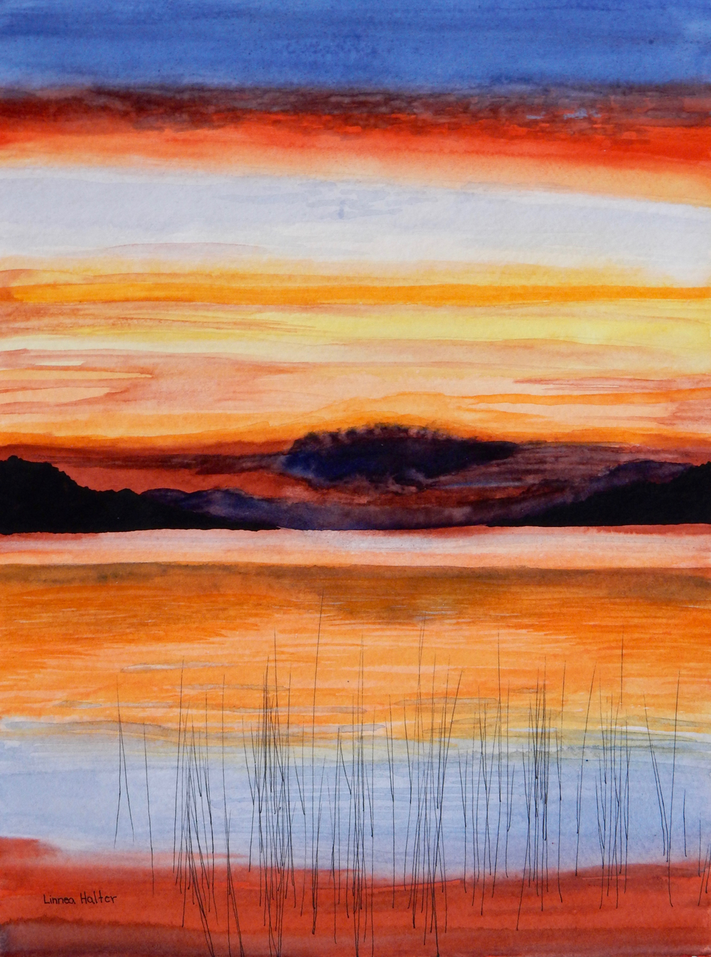 Linnea Halter.15yrs.watercolor Sunset