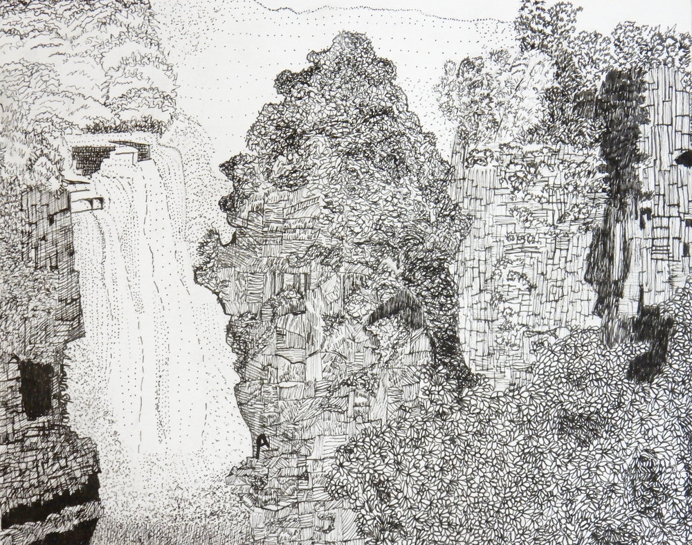 Laura Shaw.12th grade.pen&ink.Waterfall
