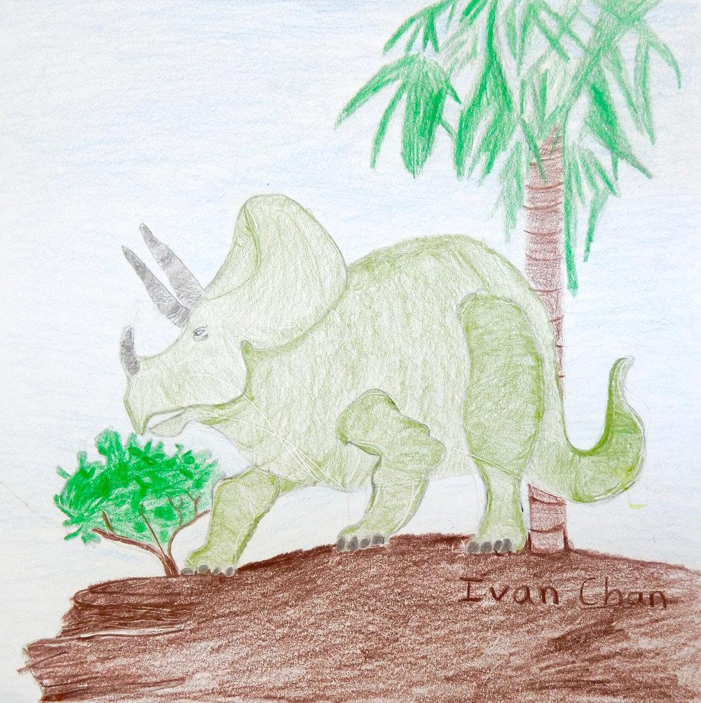 Ivan Chan.2nd grade.colored pencil Dinasaur