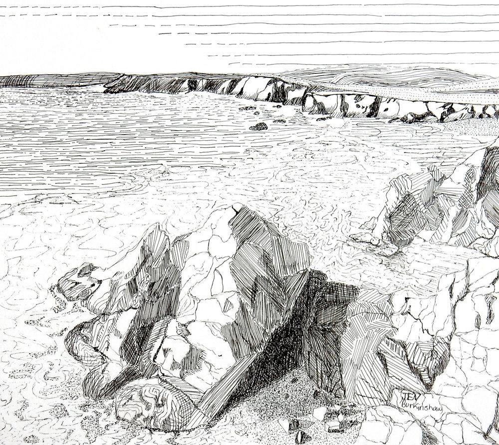Jen Burkinshaw.15yrs.pen&ink.seascape