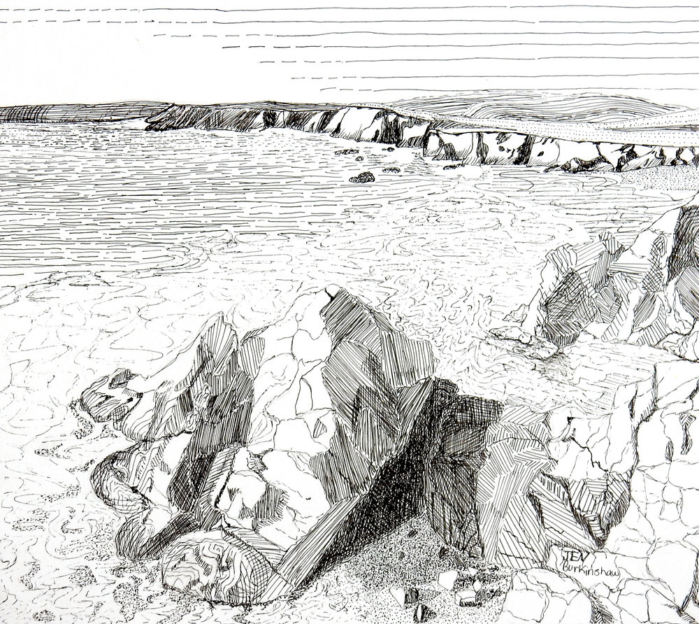 Jennifer Burkinshaw.10th grade.Rocky Shore.pen&ink
