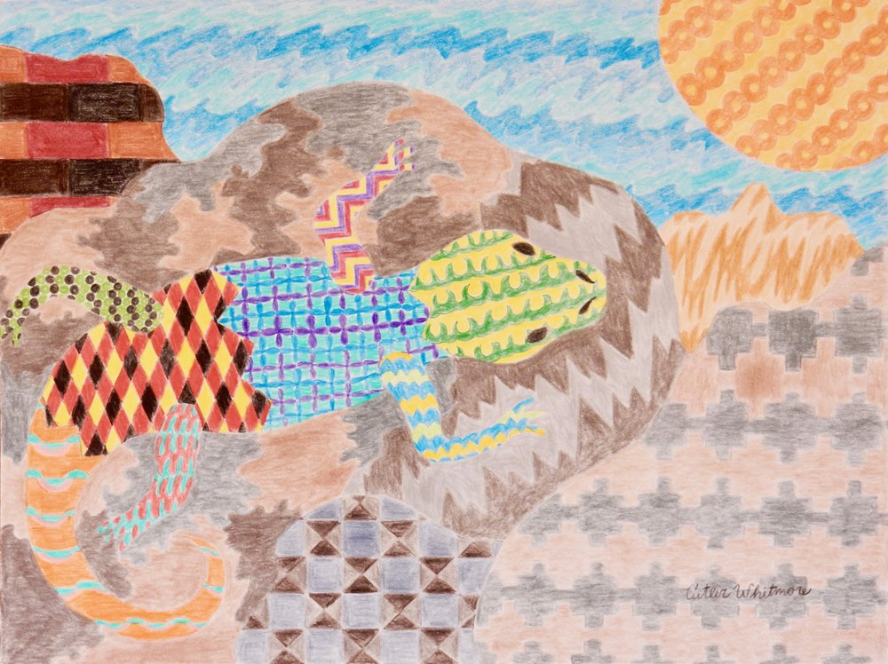 Cutler Whitmore.Lizard.colored pencil