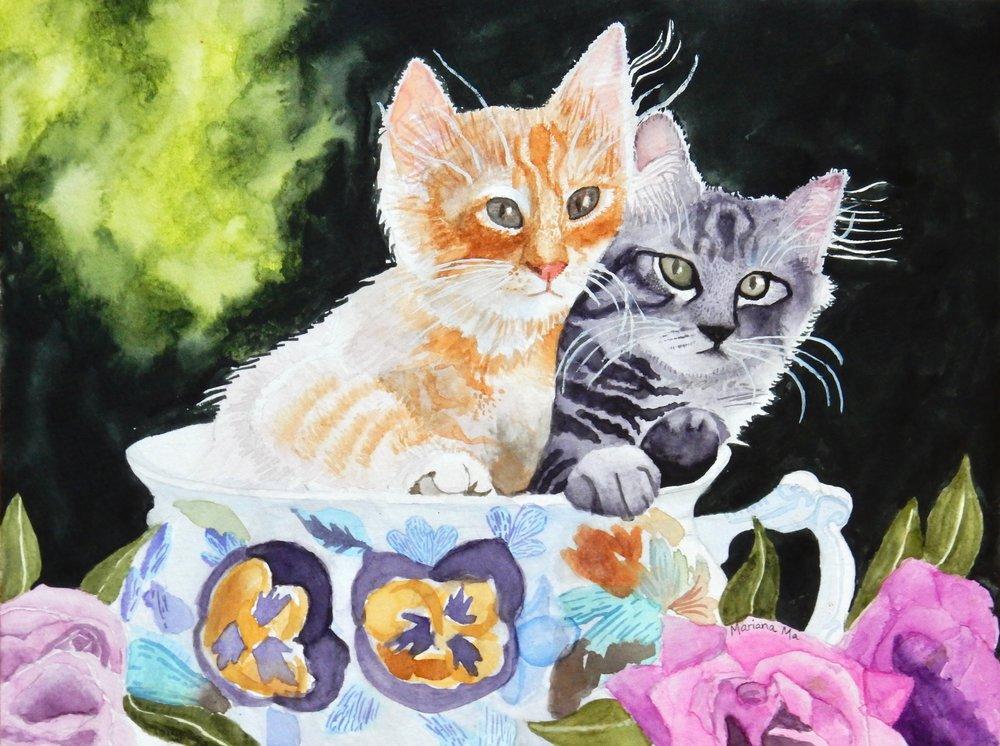 Mariana Ma.Lovely Kittens.watercolor