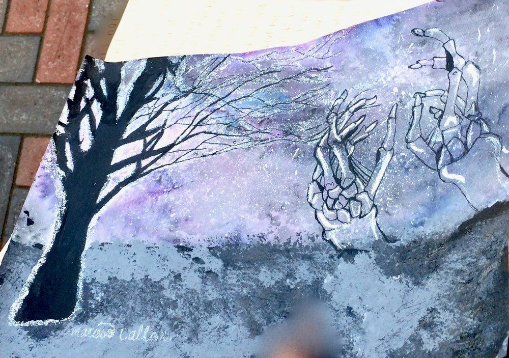 Marissa Callanan.acrylic with chalk. Afterlife