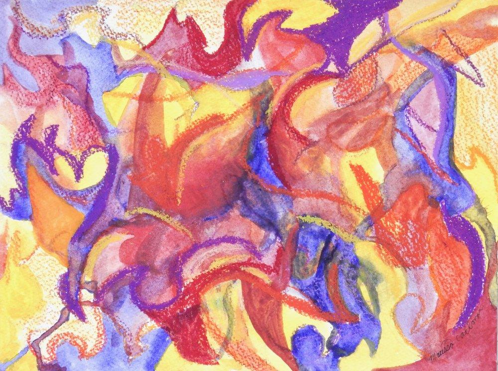 Marissa Callanan.watercolor with oil pastels