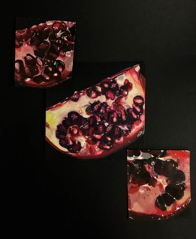 Rachel Mancour.'Pomegranates' .left is acrylic.middle is colored pencil. Rt is gauche.10x10