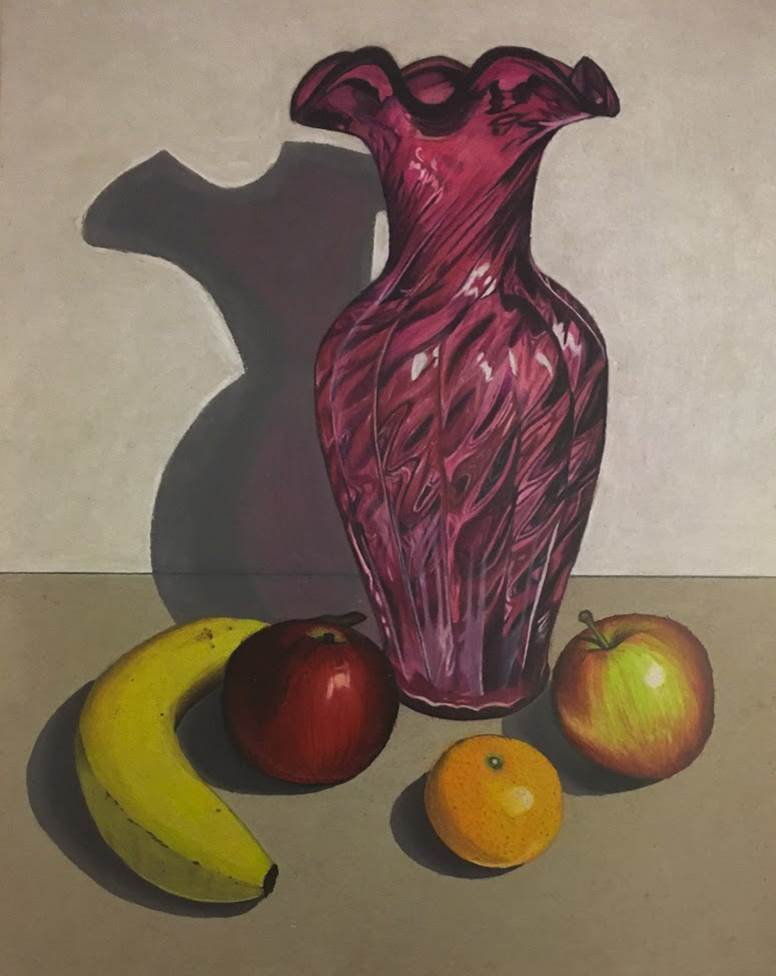 Rachel Mancour.'Vase and Fruit'colored pencil & firm pastels.9x12