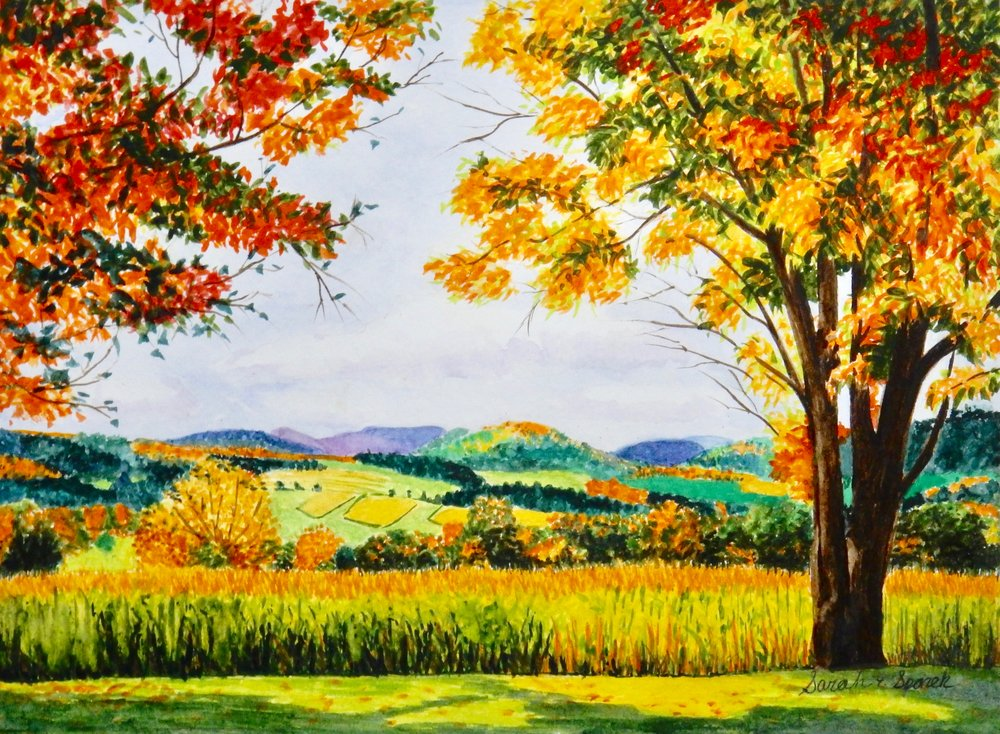Sarah Spanek.9th grade.Fall Landscape.watercolor