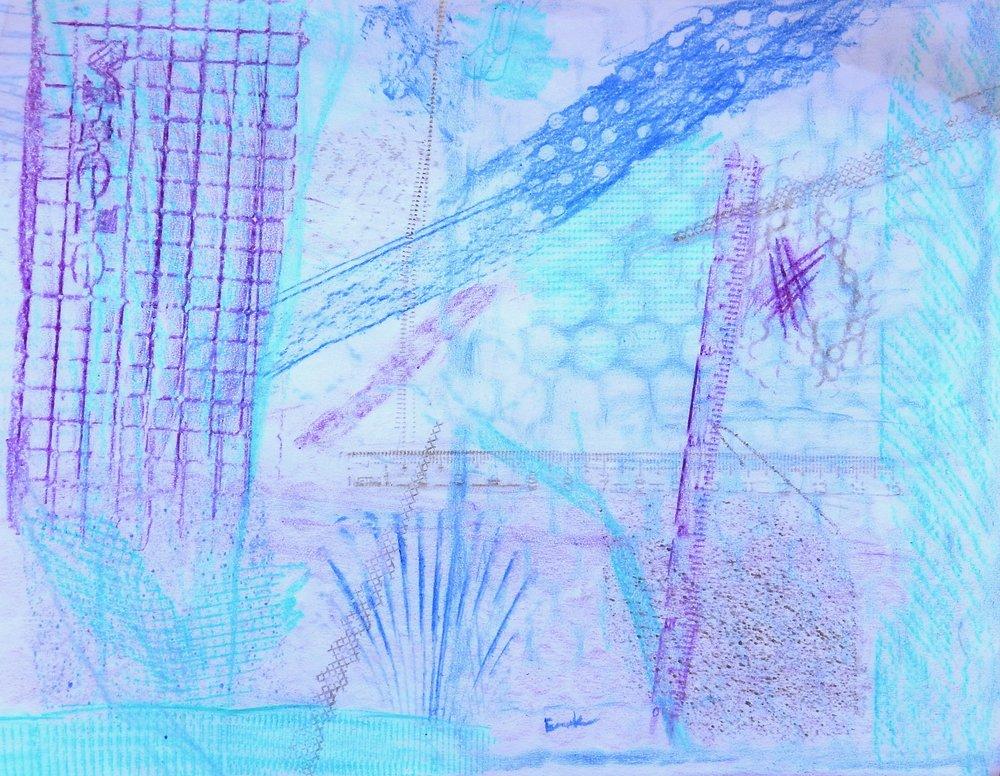 Emma Kaufmann.15 yrs.crayon.collage rubbing