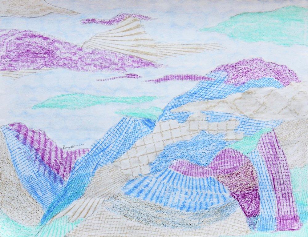 Emma Kaufmann.15 yrs.crayon.Textured Landscape