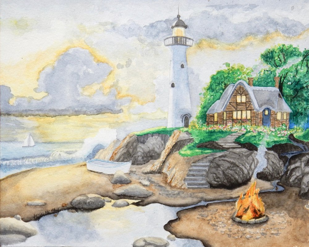 Elizabeth Tang.13 yrs.watercolor Lighthouse
