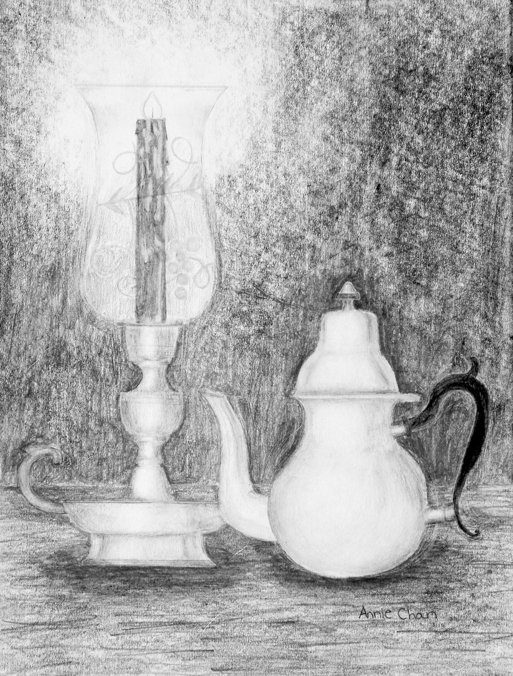 Annie Chan.13 yrs old.7th grade.pencil.Still Life with the Candle