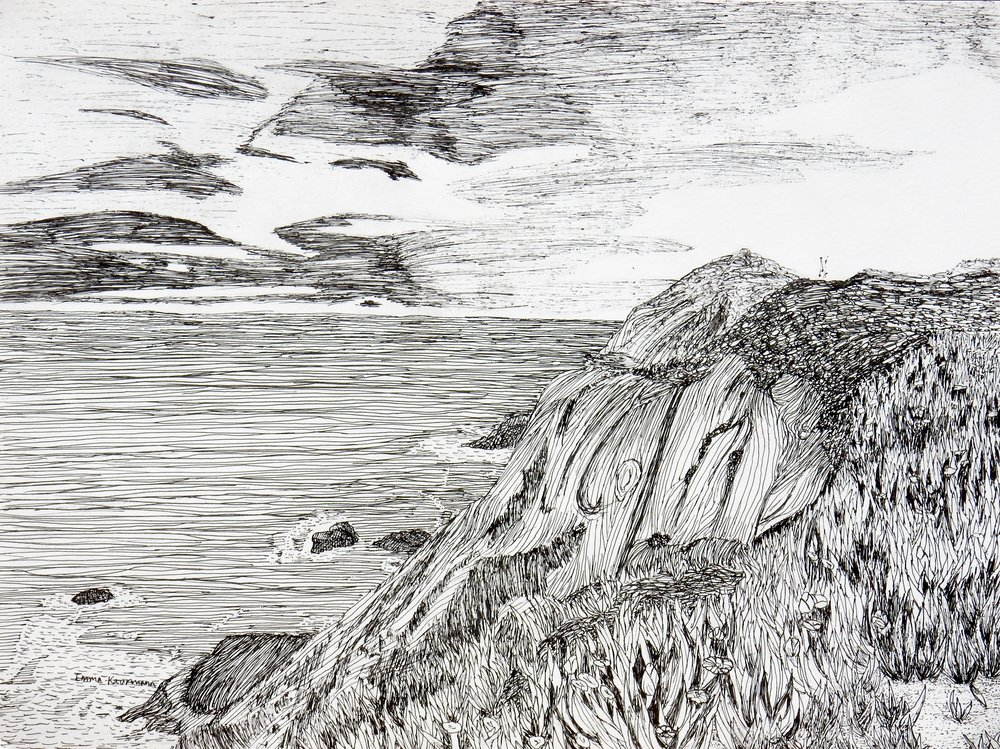 Emma Kaufmann.9th grade.pen & ink.Cliff Meets the Sea