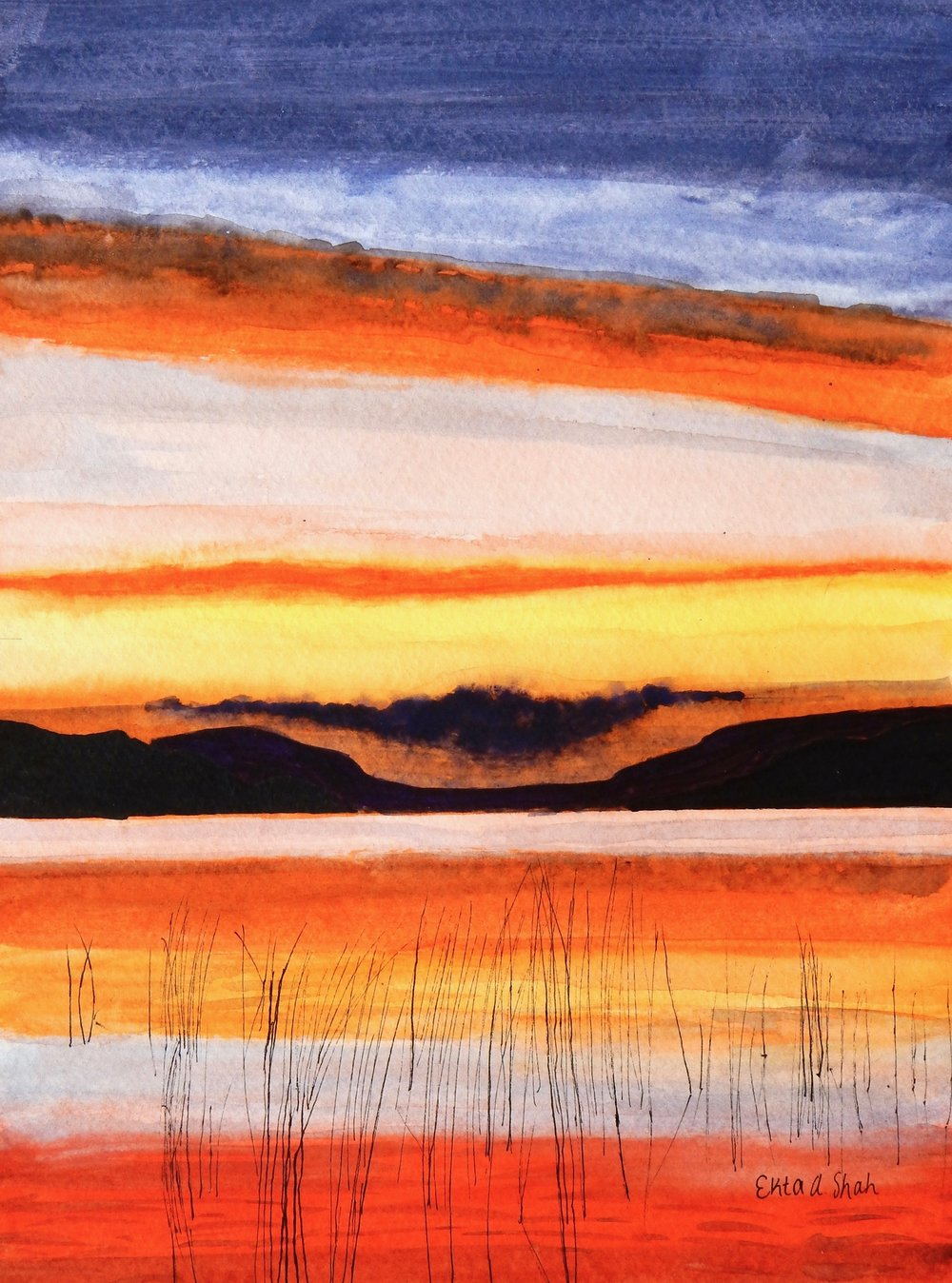Ekta Shah.11th grade.watercolor.The Calm Before the Storm Sunset