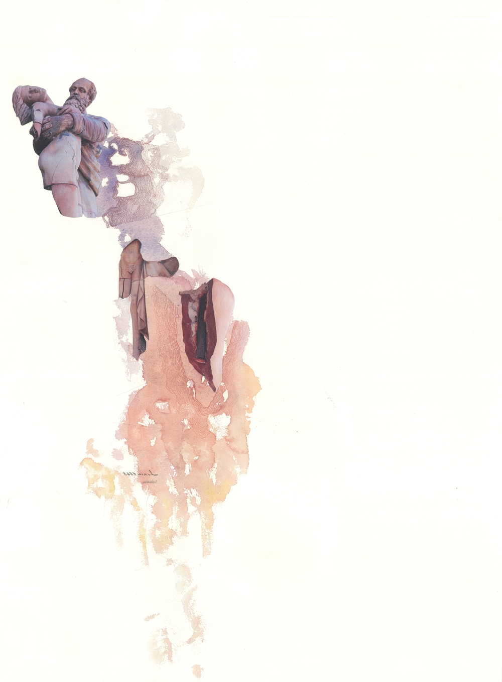 """Watercolor collages using elements of the statue to depict the idea of""""decay"""""""