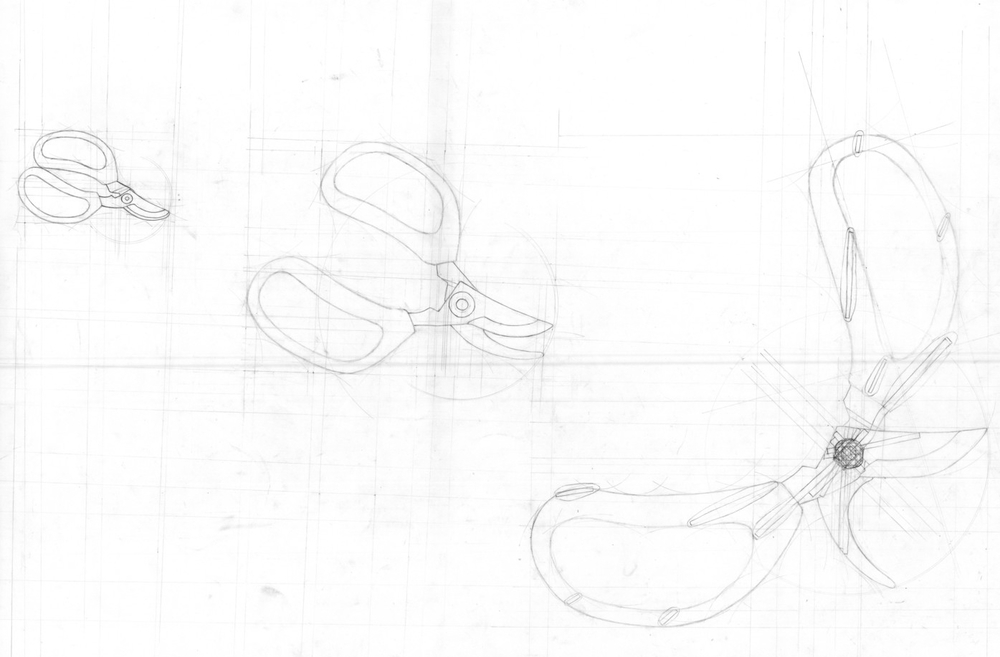 Final analysis drawing focusing on the open-close motion of the scissors