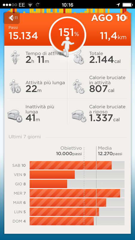 up di jawbone iphone app conta passi