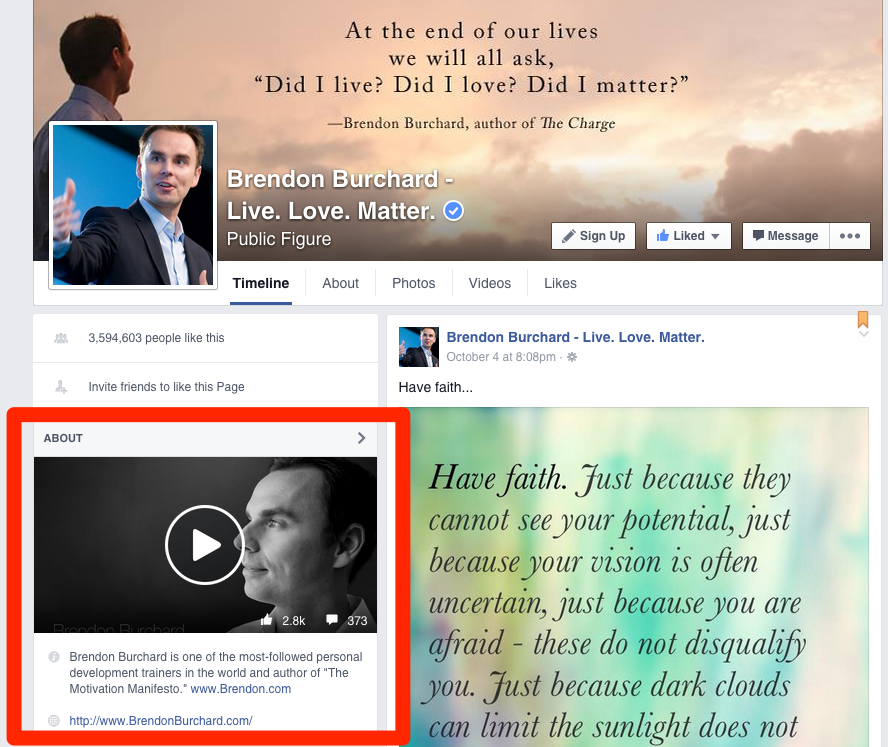 Il video Featured nella pagina ufficiale di Brendon Burchard