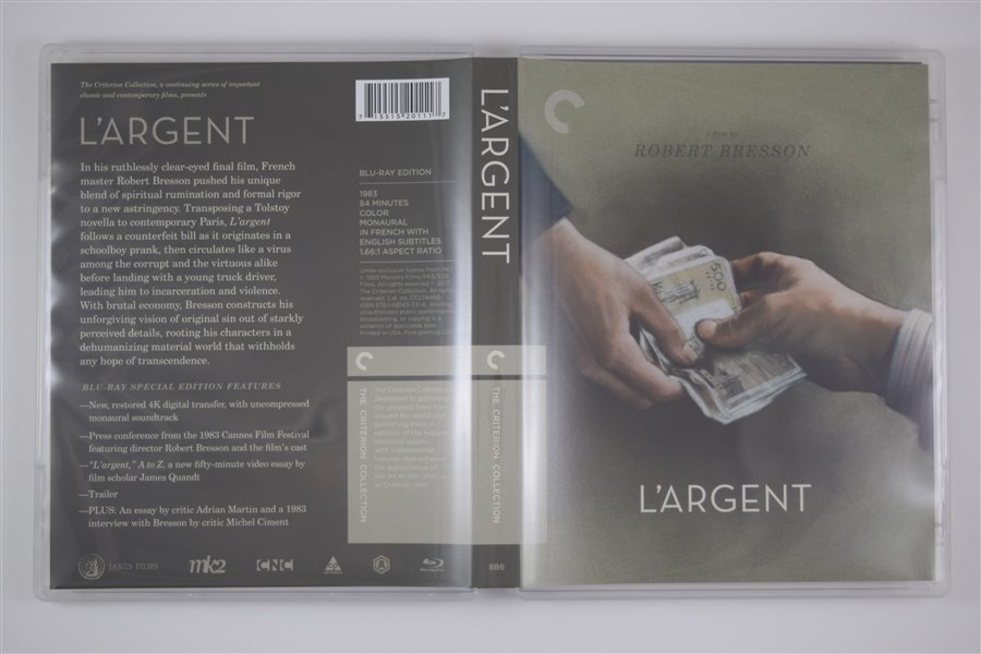 Cover art for the remastered 1983 film  L'Argent  released by The Criterion Collection
