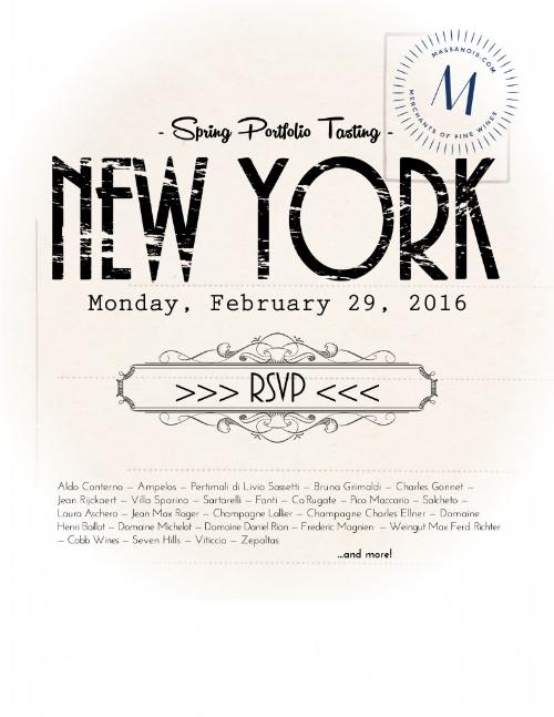 Anche quest'anno siamo presenti al  Massanois Spring Tasting.    Lunedì 29 febbraio 2016   City Winary NYC