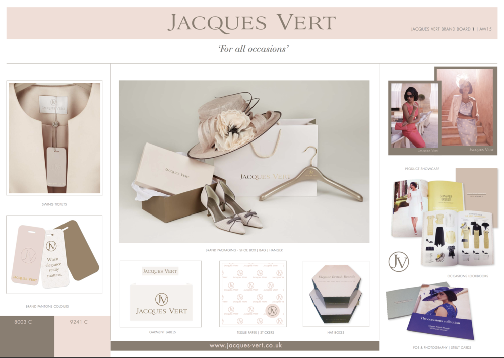 Full redesign of the Jacques Vert Brand – this was used across UK in John Lewis, House of Fraser and Debenhams and in Canada andThe Middle East