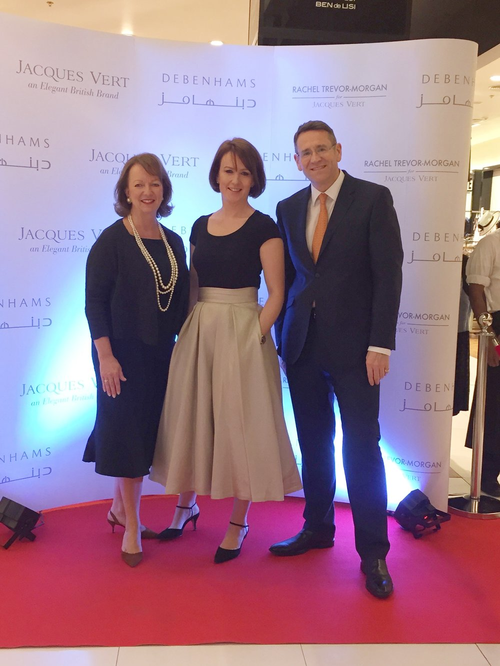 CEO, Teresa Tideman, Milliner to H.M. The Queen Rachel Trevor-Morgan and Mark Aldridge Global Marketing Director at the Dubai launch event