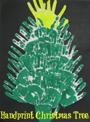 Kids Craft Activities - Hand Print Christmas Trees