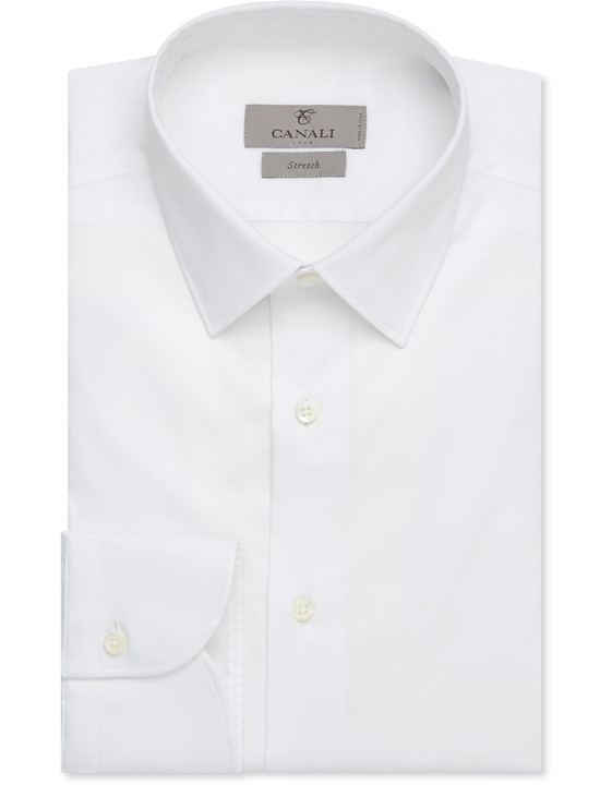 WHITE STRETCH COTTON SLIM FIT SHIRT